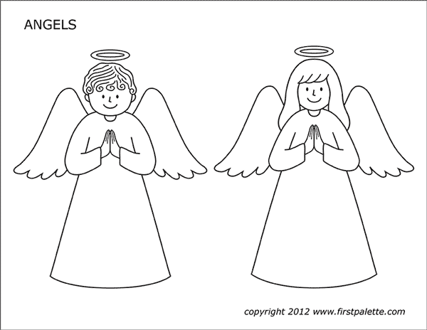 Printable Angels Coloring Page - Set 1