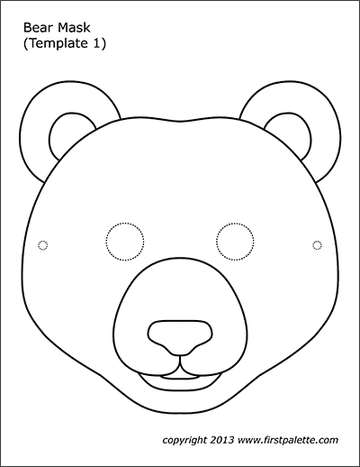 Bear Mask Coloring Page 1