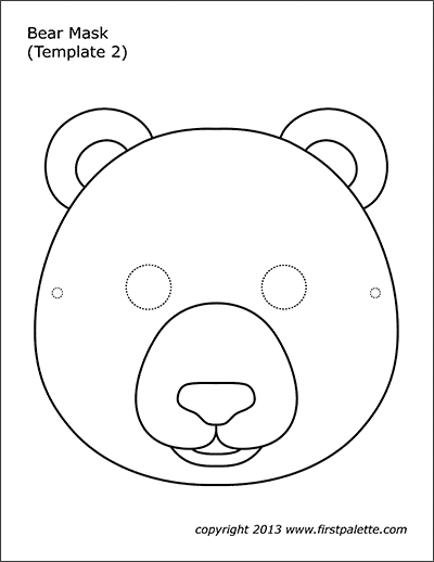 Bear Mask Coloring Page 2