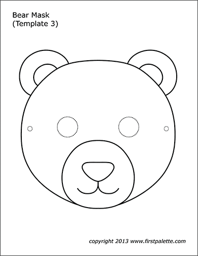Bear Mask Coloring Page 3