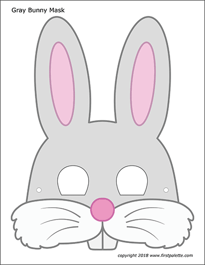 Printable Gray Bunny Mask