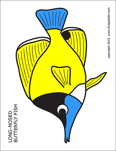 Printable Colored Long-Nosed Butterfly Fish