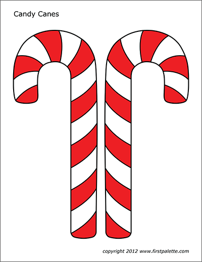 This is an image of Peaceful Candy Cane Template Printable