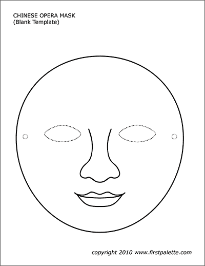 Printable Chinese Opera Mask Blank Template