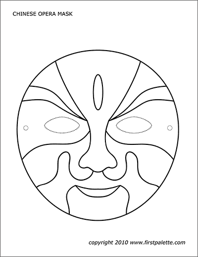 Printable Chinese Opera Mask Coloring Page