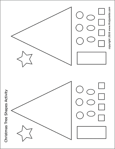 Printable Small Christmas Tree Shapes Set