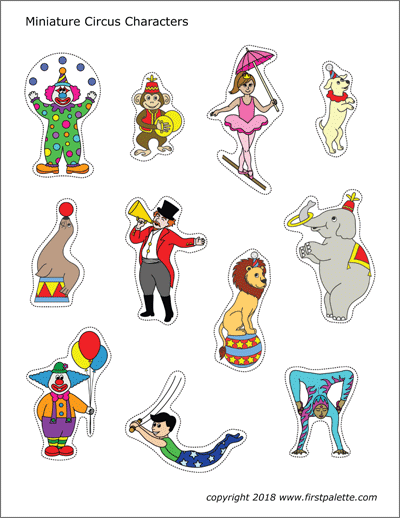 Printable Colored Miniature Circus Characters