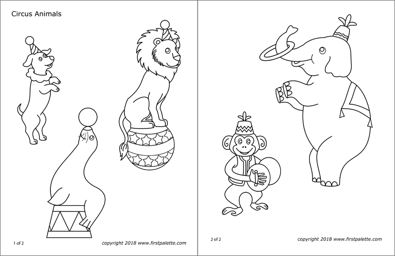 Printable Circus Animal Coloring Pages