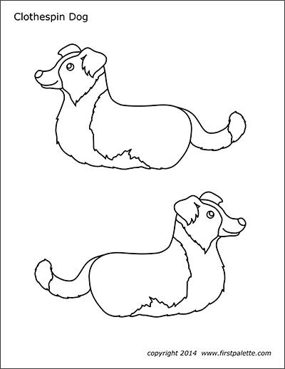 Printable Clothespin Dog Coloring Page
