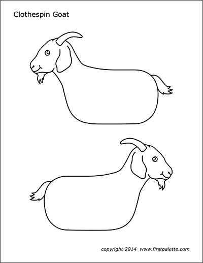 Printable Clothespin Goat Coloring Page