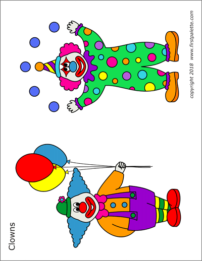 Printable colored clowns