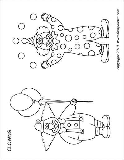 Printable clown coloring page