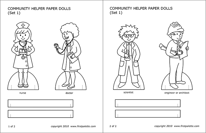 Printable Community Helper Paper Dolls - Set 1