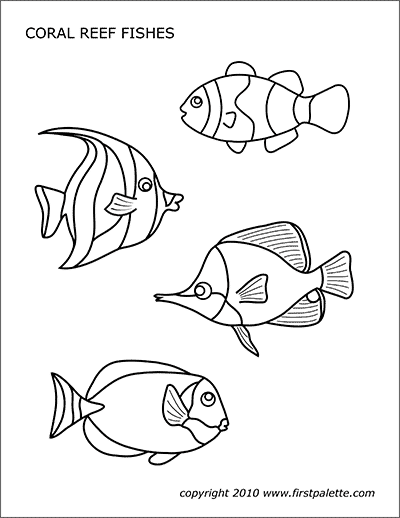 Printable Coral Reef Fishes