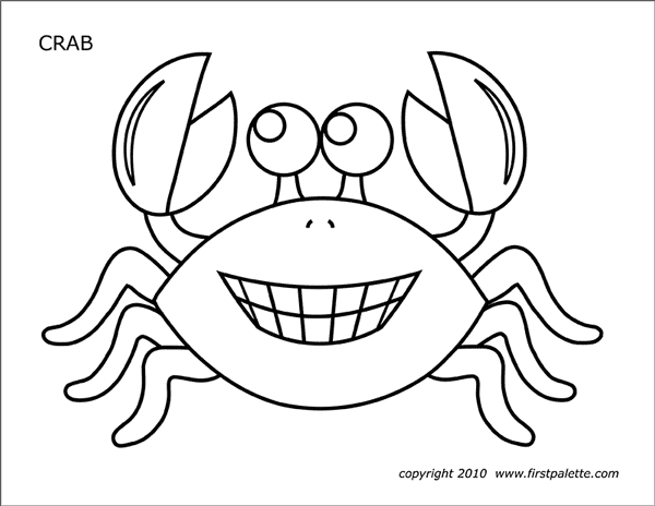 Crab Free Printable Templates & Coloring Pages FirstPalette.com