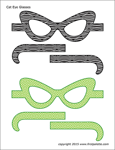 Printable Colored Cat Eye Glasses - Set 1