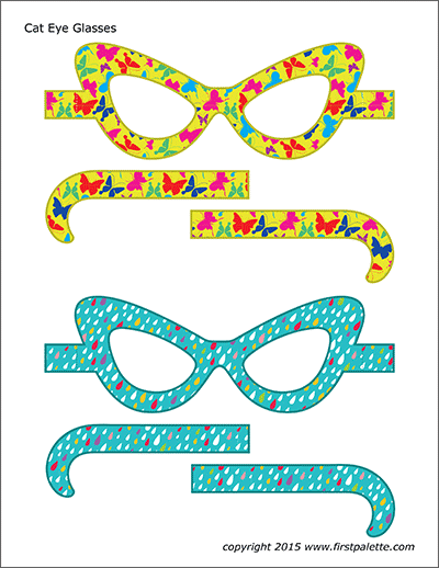 Printable Colored Cat Eye Glasses - Set 2