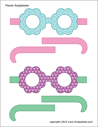 Printable Colored Flower Eyeglasses - Set 3