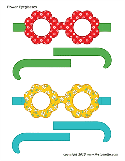 Printable Colored Flower Eyeglasses - Set 1
