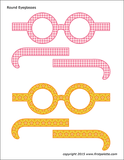 Printable Colored Round Eyeglasses - Set 3