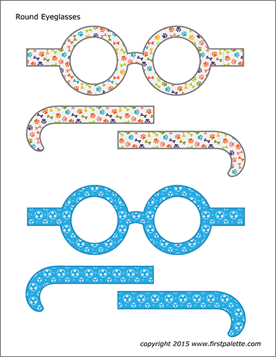 Printable Colored Round Eyeglasses - Set 2