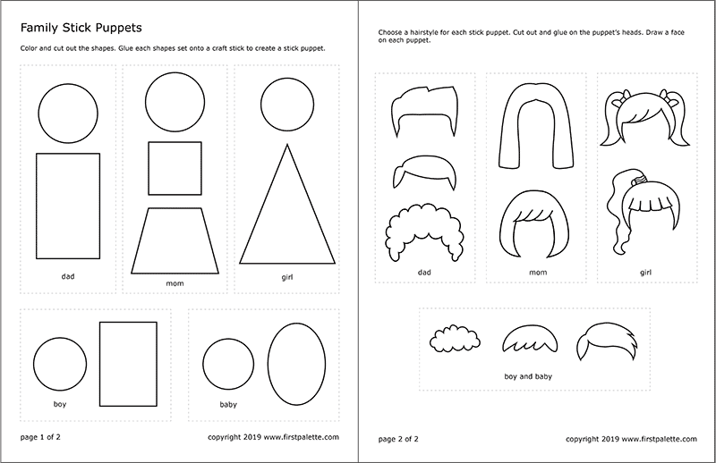 Printable Family Stick Puppets Template