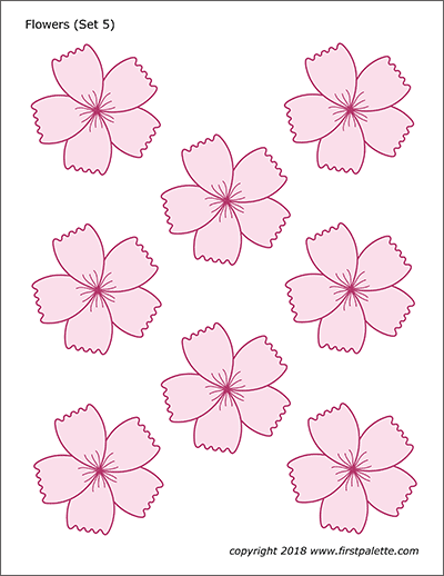 Printable Colored Flower Set 5 - Cherry Blossoms