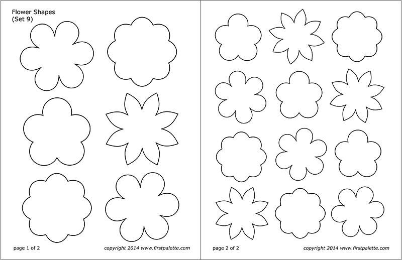 Printable Flower Shapes - Set 9
