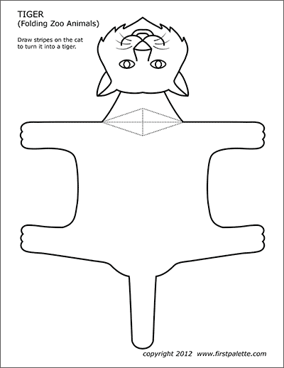 Printable folding tiger with no stripes