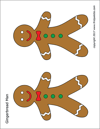 Printable Colored Gingerbread People - Set 2