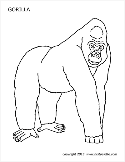 Gorilla Free Printable Templates Coloring Pages Firstpalette Com