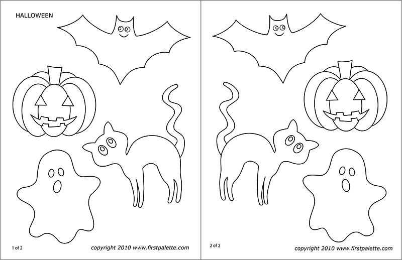 graphic regarding Halloween Cutouts Printable named Halloween People Free of charge Printable Templates Coloring