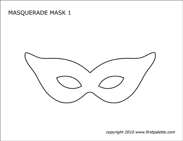 Terrible image with printable masquerade mask template
