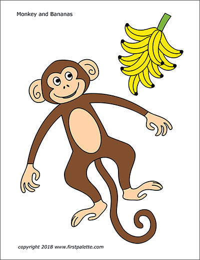 Printable Colored Monkey and Bananas