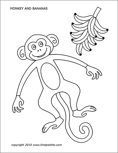 Printable Monkey and Bananas Coloring Page