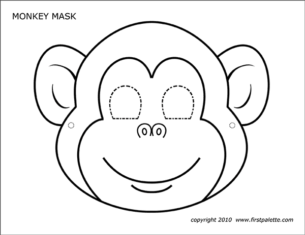 Printable Monkey Mask Coloring Page