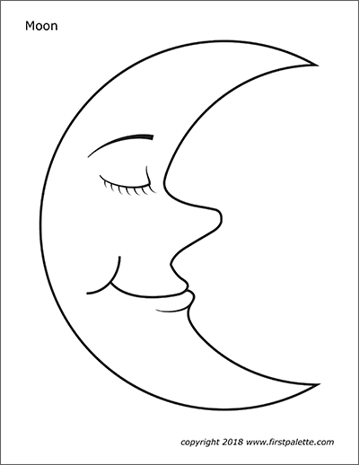 Printable Moon with Face Coloring Page
