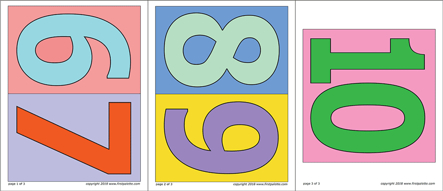 Printable Large Colored Numbers with Background - Set 2 (Numbers 6 to 10)