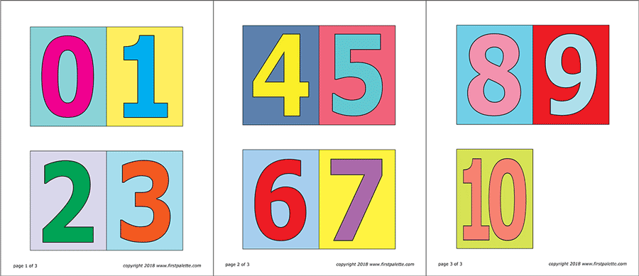 Printable Medium-sized Colored Numbers with Background - Set 1