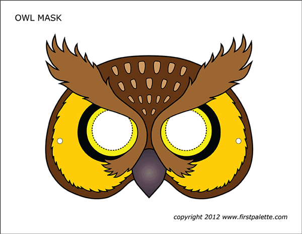 Printable Colored Owl Mask
