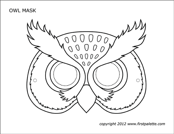 Printable Owl Mask Coloring Page