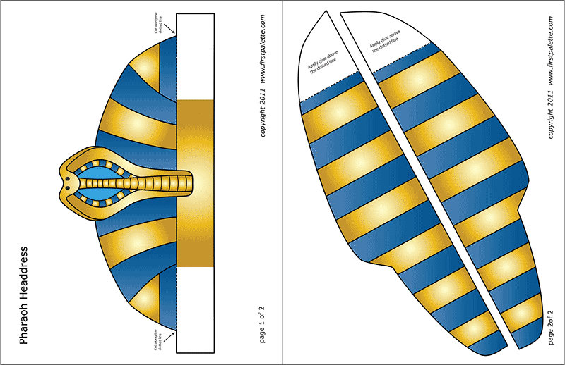Printable Colored Pharaoh Headdress Template