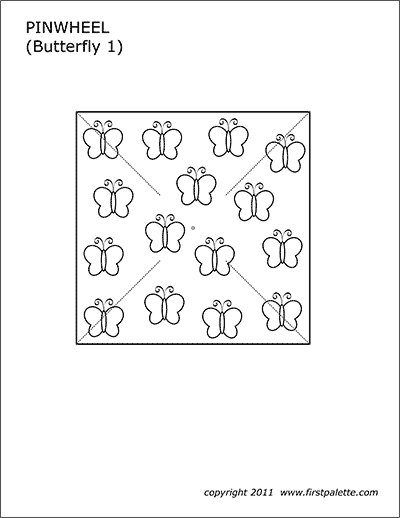 Printable Pinwheel Template - Butterflies 1