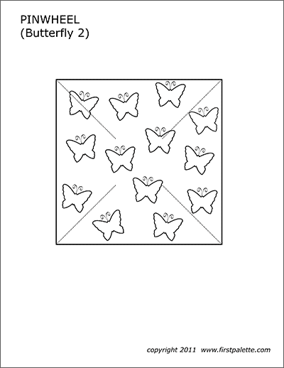 Printable Pinwheel Template - Butterflies 2