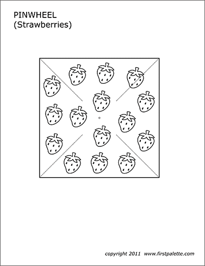 Printable Pinwheel Template - Strawberries