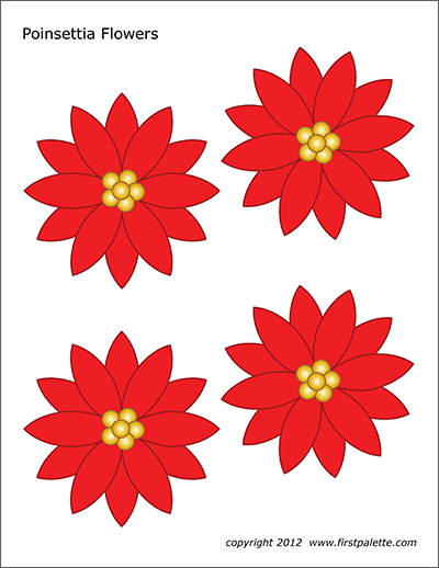 graphic relating to Poinsettia Pattern Printable titled Poinsettia Bouquets Cost-free Printable Templates Coloring