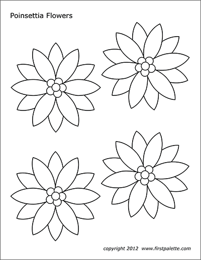 photograph relating to Poinsettia Pattern Printable named Poinsettia Bouquets Free of charge Printable Templates Coloring