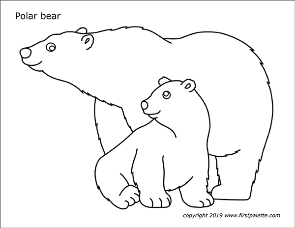 image relating to Bear Template Printable called Polar Endure Absolutely free Printable Templates Coloring Webpages