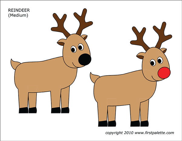 Printable Colored Reindeer - Set 2