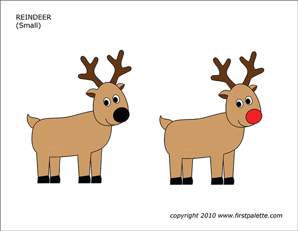 Printable Colored Reindeer - Set 1